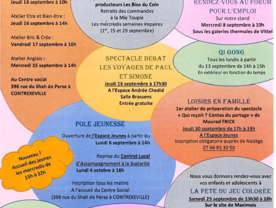 ATELIERS DU CENTRE SOCIAL LA TOUPIE - MOIS DE SEPTEMBRE