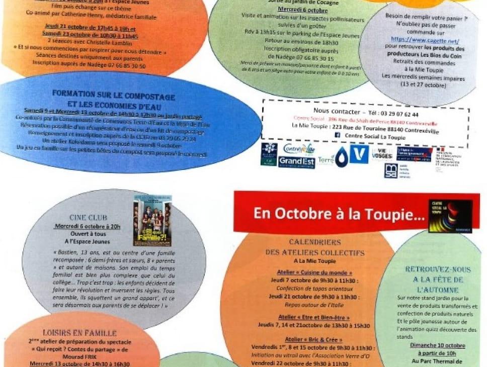 ATELIERS DU CENTRE SOCIAL LA TOUPIE - MOIS DE OCTOBRE