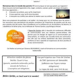ATELIER PARENTS - ATELIERS D'INITIATION À LA MÉTHODE THOMAS GORDON