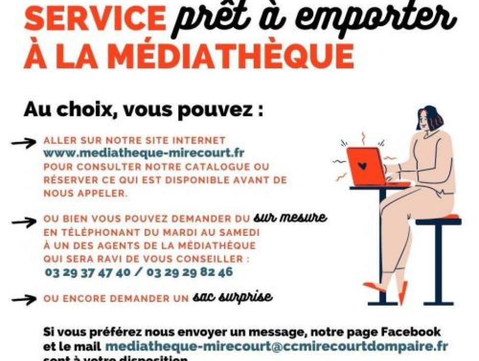 SERVICE PRÊT À EMPORTER À LA MÉDIATHÈQUE