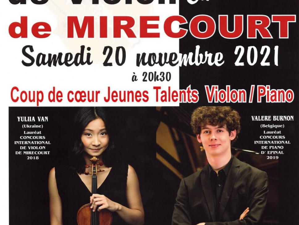 CONCOURS INTERNATIONAL DE VIOLON - CONCERT COUP DE COEURS JEUNES TALENTS VIOLON PIANO